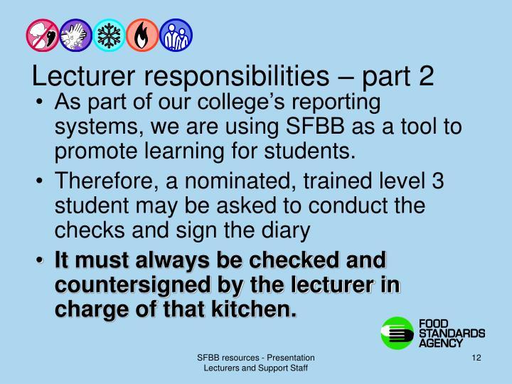 Lecturer responsibilities – part 2