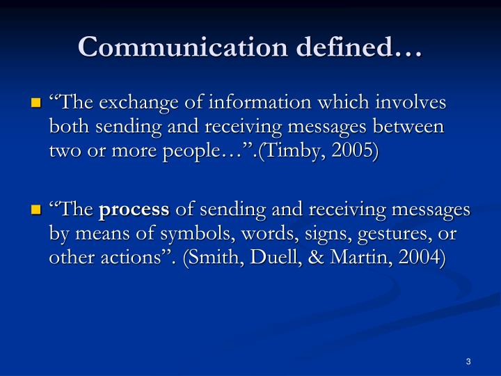 Communication defined…