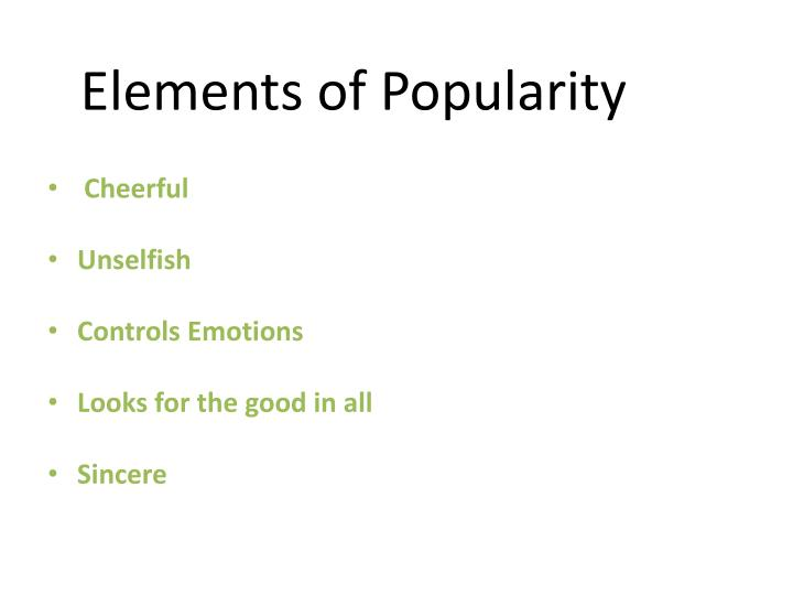 Elements of Popularity