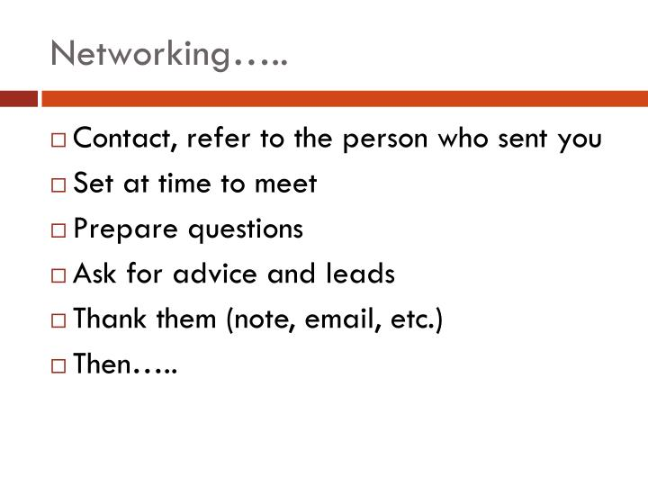 Networking…..