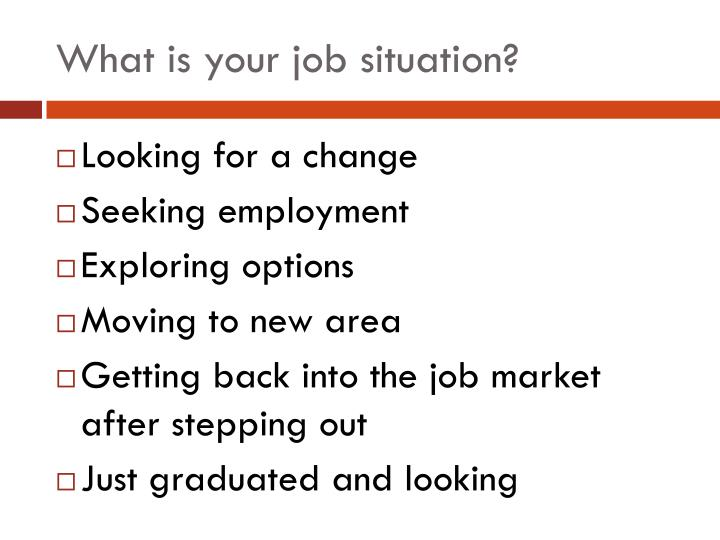 What is your job situation?