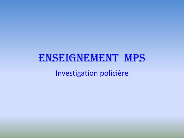 Enseignement mps
