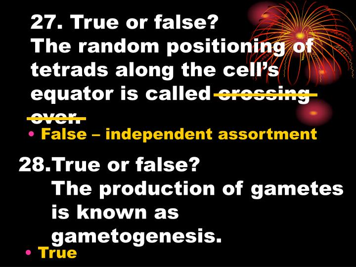 27. True or false?