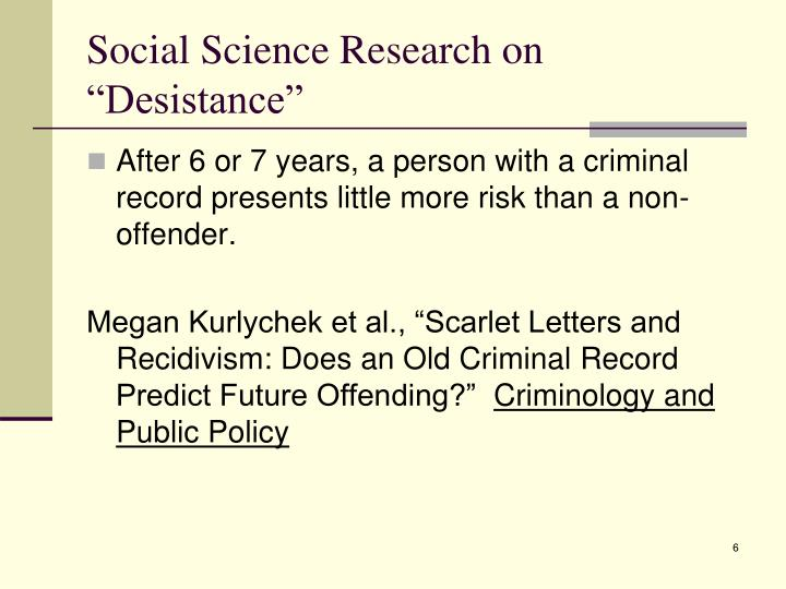"Social Science Research on ""Desistance"""
