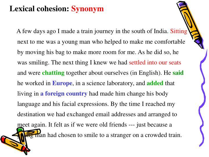 Lexical cohesion: