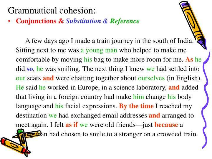 Grammatical cohesion: