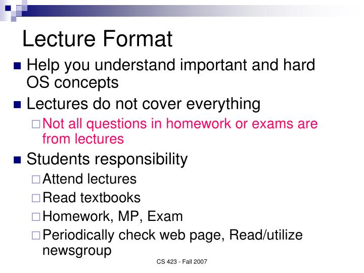 Lecture Format