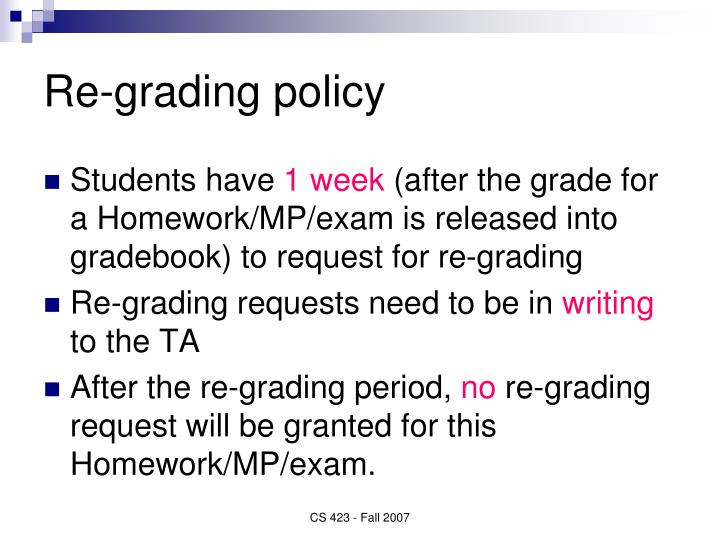 Re-grading policy
