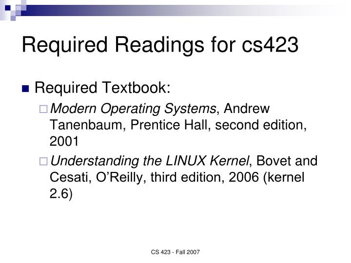 Required Readings for cs423