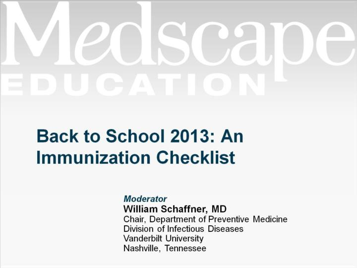 Back to school 2013 an immunization checklist