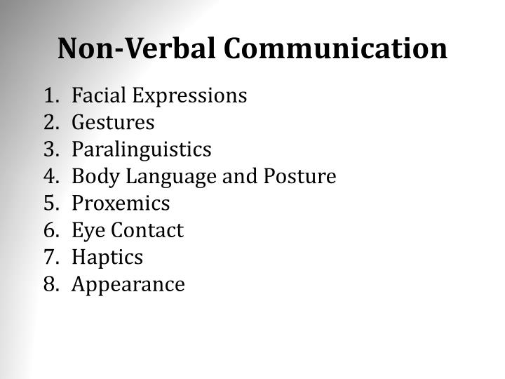 an analysis of non verbal communication on two subjects Communication through non-verbal methods: non-verbal communication is the type of communication which happens through visual cues and expressions it consists of means like kinesics (body language), paralanguage (physical appearance of voice), haptics (touch), oculesics (eye contact), etc.