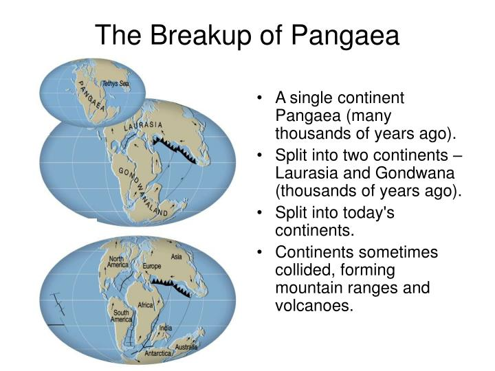 A single continent Pangaea (many thousands of years ago).