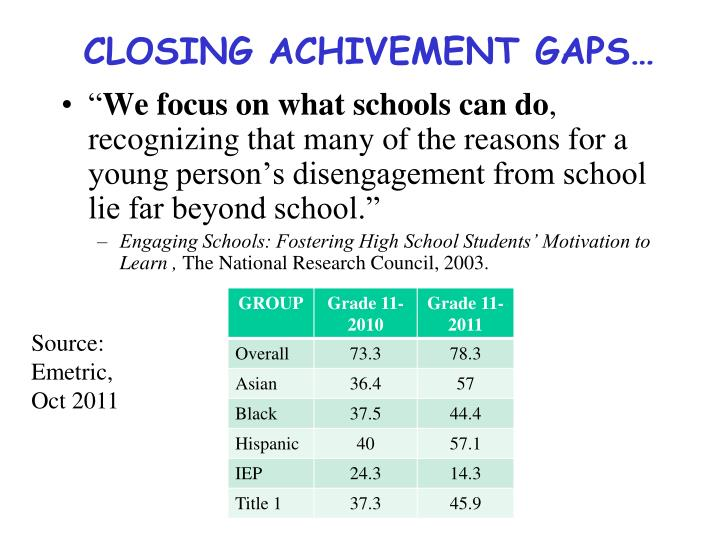 Closing achivement gaps