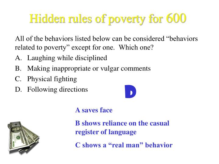 Hidden rules of poverty for