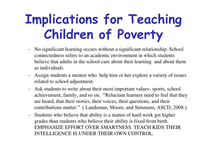 Implications for Teaching Children of Poverty