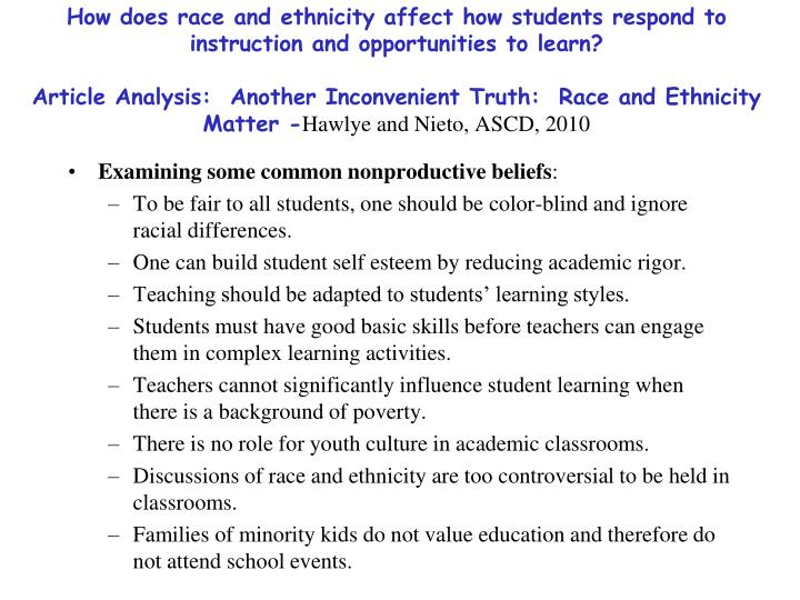 How does race and ethnicity affect how students respond to instruction and opportunities to learn?