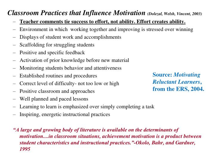 Classroom Practices that Influence Motivation
