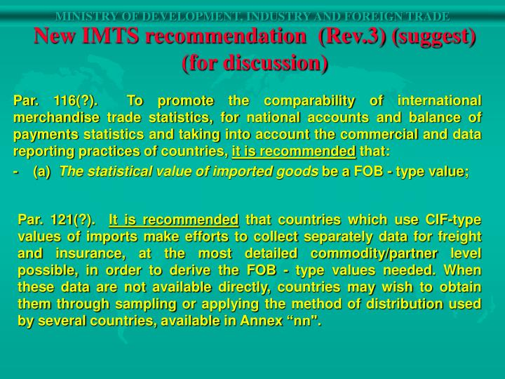 New IMTS recommendation  (Rev.3) (