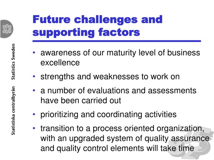 Future challenges and supporting factors