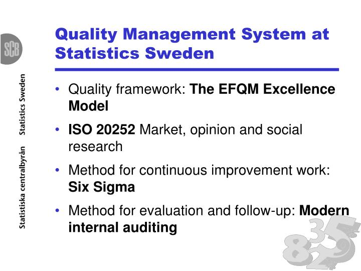 Quality management system at statistics sweden