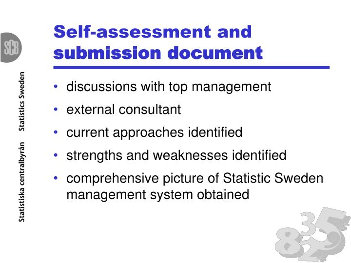 Self-assessment and