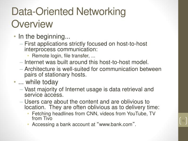 Data-Oriented Networking Overview