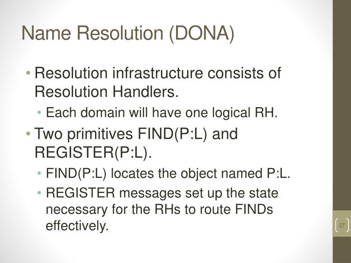 Name Resolution (DONA)
