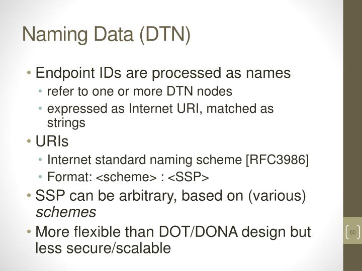 Naming Data (DTN)