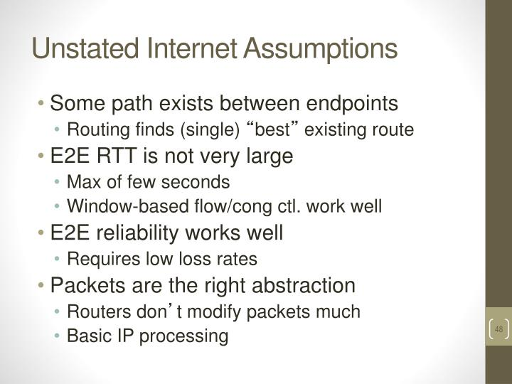 Unstated Internet Assumptions