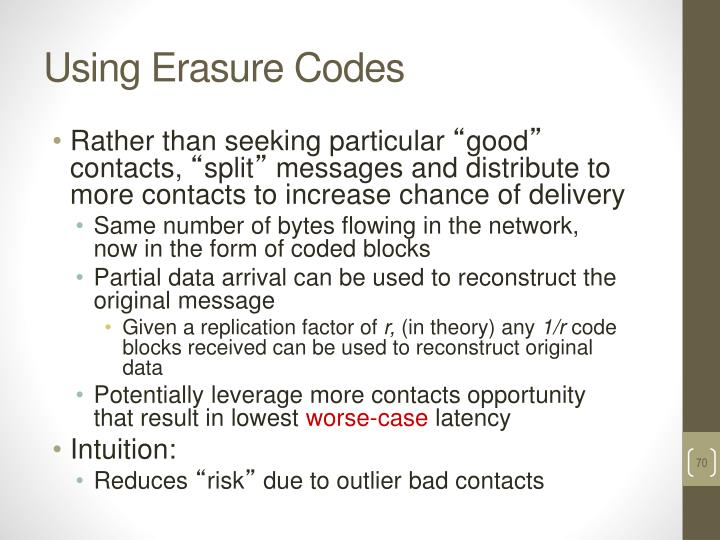 Using Erasure Codes