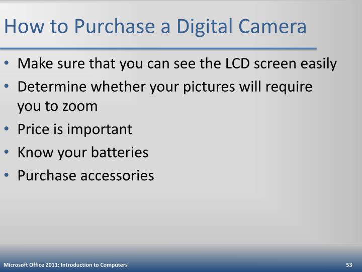 How to Purchase a Digital Camera