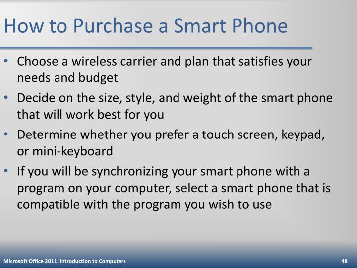 How to Purchase a Smart Phone