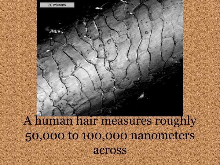A human hair measures roughly 50 000 to 100 000 nanometers across