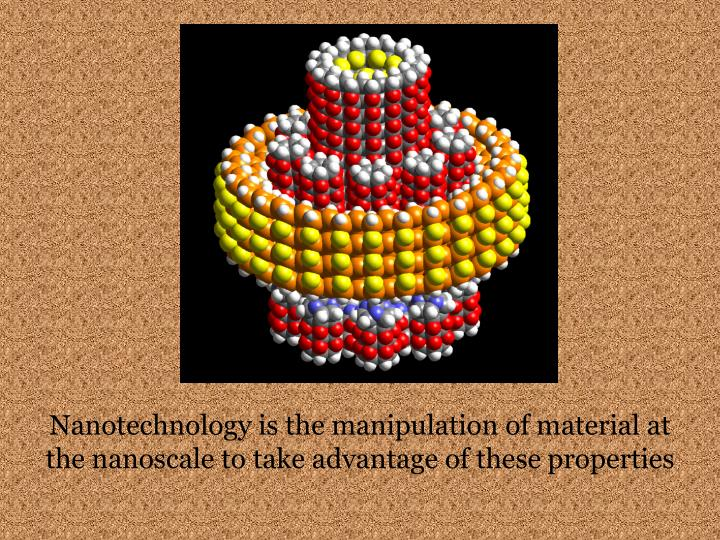 Nanotechnology is the manipulation of material at the