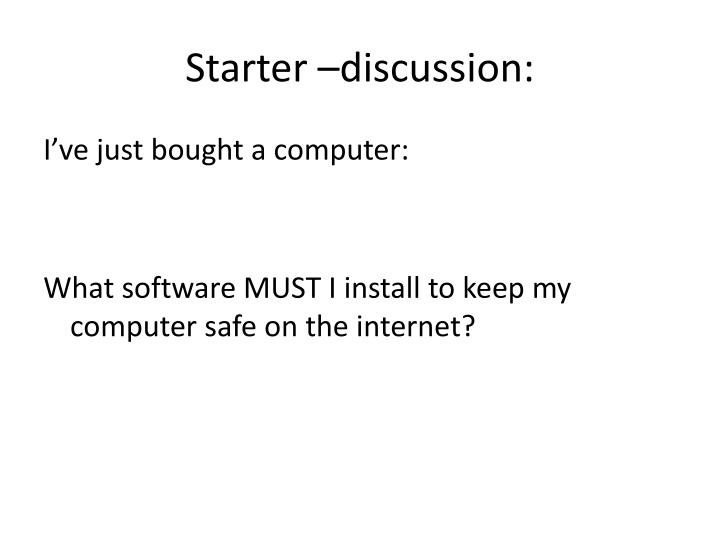 Starter –discussion: