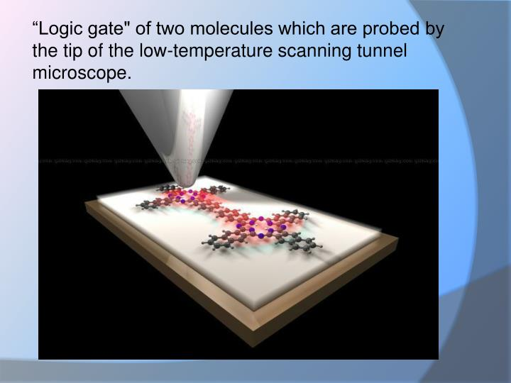 """Logic gate"" of two molecules which are probed by the tip of the low-temperature scanning"