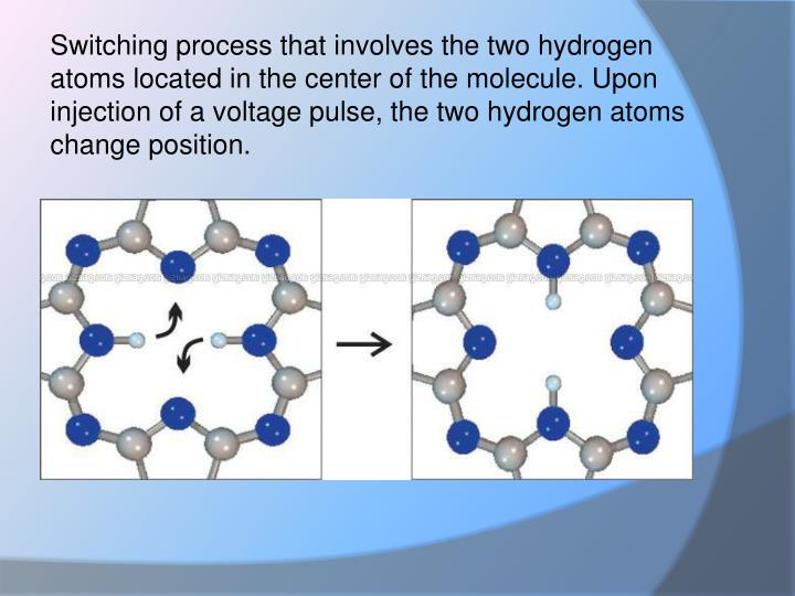 Switching process that involves the two hydrogen atoms located in the center of the molecule. Upon injection of a voltage pulse, the two hydrogen atoms change position.