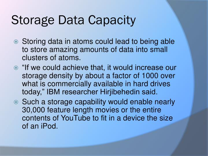 Storage Data Capacity