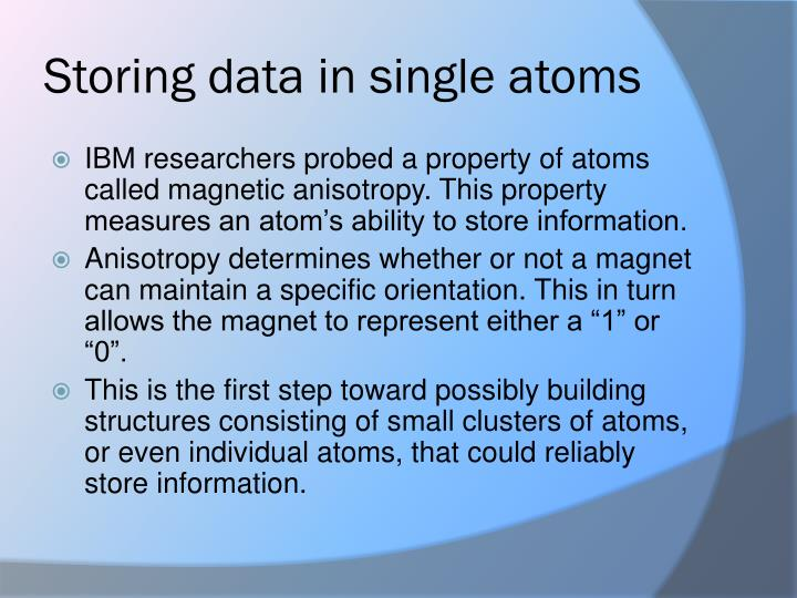 Storing data in single atoms