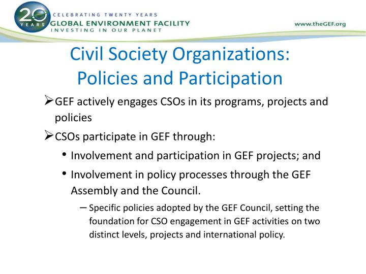 Civil society organizations policies and participation