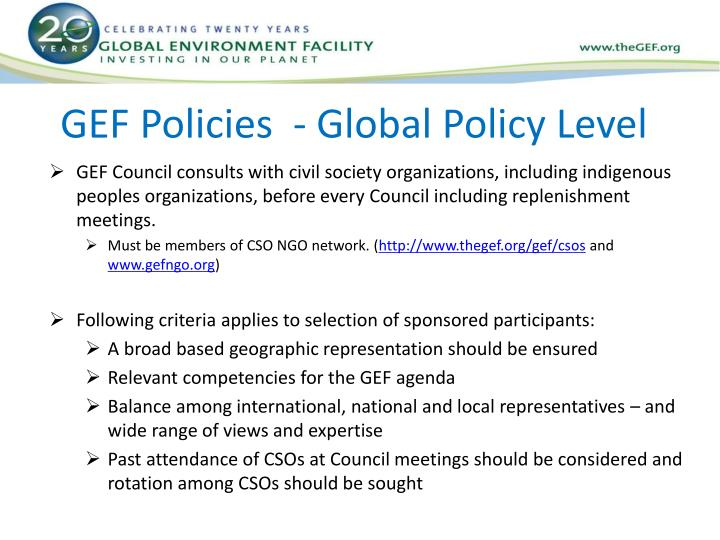 GEF Policies  - Global Policy Level