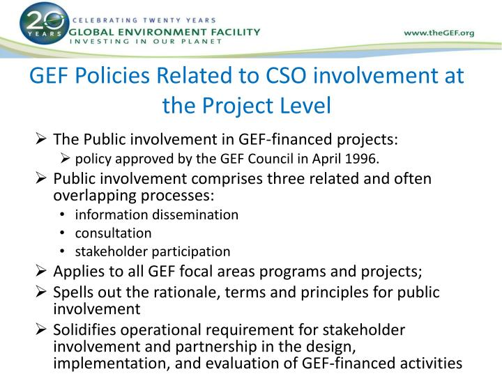 GEF Policies Related to CSO involvement at the Project Level