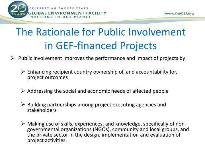 The Rationale for Public Involvement in GEF-financed Projects
