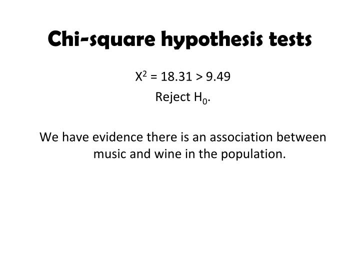Chi-square hypothesis tests