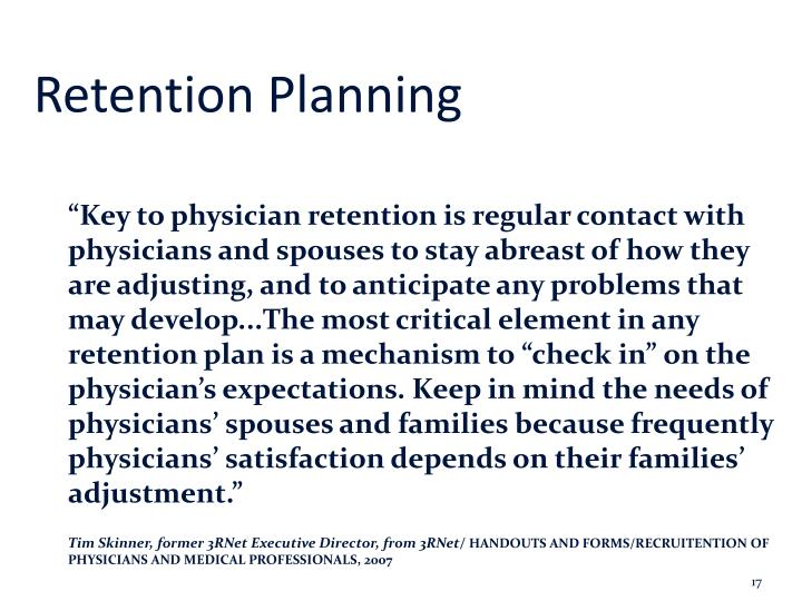 Retention Planning