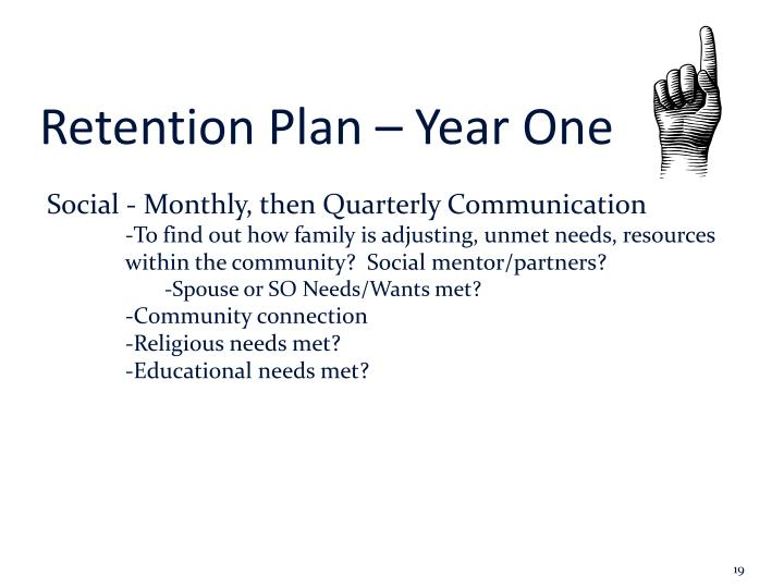Retention Plan – Year One