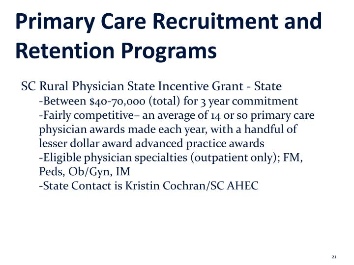 Primary Care Recruitment and Retention Programs