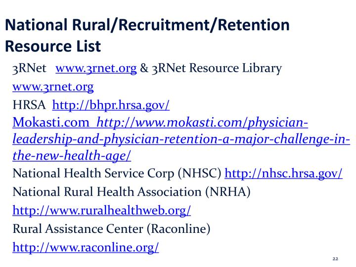 National Rural/Recruitment/Retention Resource List