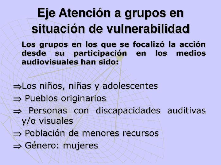 Los grupos en los que se focalizó la acción desde su participación en los medios audiovisuales han sido: