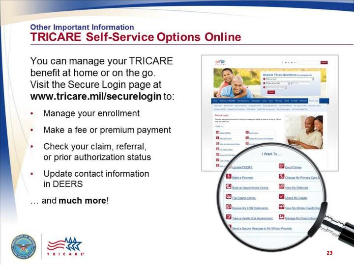 Other Important Information: TRICARE Self-Service Options Online